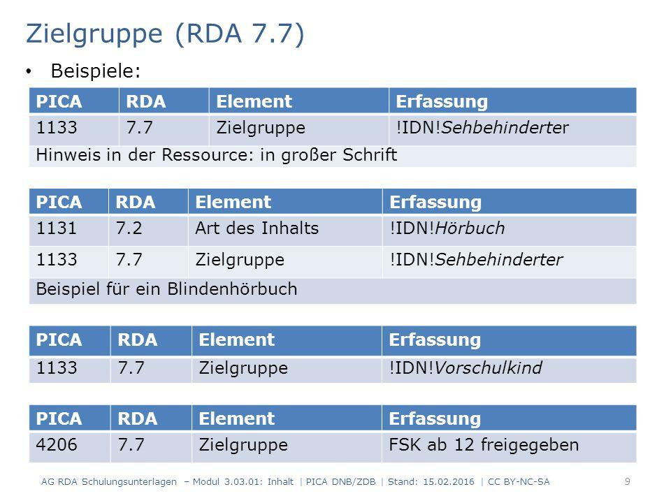 Zielgruppe (RDA 7.7) PICARDAElementErfassung 11337.7Zielgruppe!IDN!Sehbehinderter Hinweis in der Ressource: in großer Schrift PICARDAElementErfassung