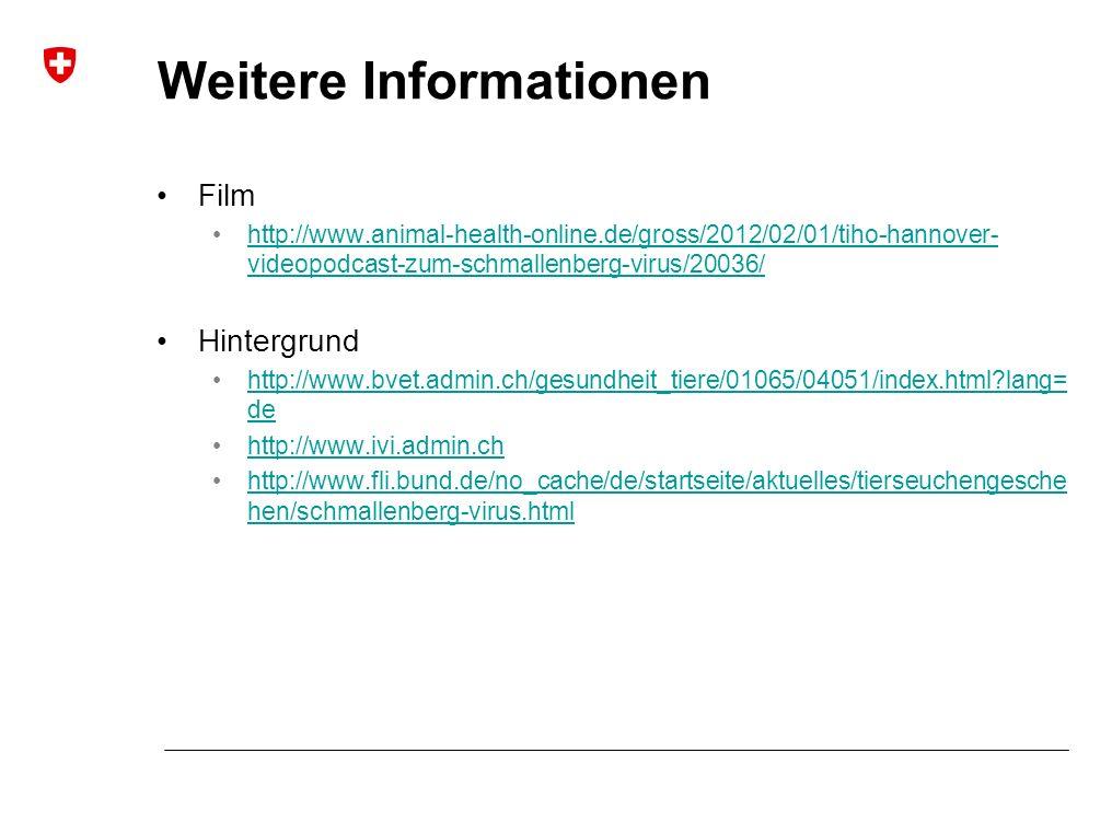 Weitere Informationen Film http://www.animal-health-online.de/gross/2012/02/01/tiho-hannover- videopodcast-zum-schmallenberg-virus/20036/http://www.animal-health-online.de/gross/2012/02/01/tiho-hannover- videopodcast-zum-schmallenberg-virus/20036/ Hintergrund http://www.bvet.admin.ch/gesundheit_tiere/01065/04051/index.html?lang= dehttp://www.bvet.admin.ch/gesundheit_tiere/01065/04051/index.html?lang= de http://www.ivi.admin.ch http://www.fli.bund.de/no_cache/de/startseite/aktuelles/tierseuchengesche hen/schmallenberg-virus.htmlhttp://www.fli.bund.de/no_cache/de/startseite/aktuelles/tierseuchengesche hen/schmallenberg-virus.html