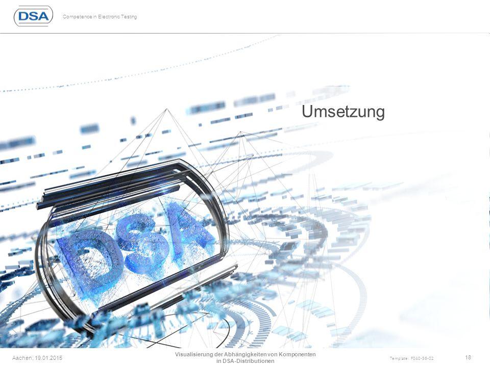 Competence in Electronic Testing Template: F040-36-02 Umsetzung Aachen, 19.01.2015 Visualisierung der Abhängigkeiten von Komponenten in DSA-Distributionen 18
