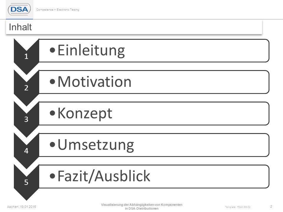 Competence in Electronic Testing Template: F040-36-02 Inhalt 1 Einleitung 2 Motivation 3 Konzept 4 Umsetzung 5 Fazit/Ausblick Aachen, 19.01.2015 Visualisierung der Abhängigkeiten von Komponenten in DSA-Distributionen 2