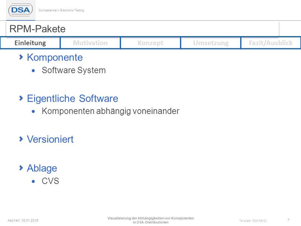 Competence in Electronic Testing Template: F040-36-02 RPM-Pakete Komponente Software System Eigentliche Software Komponenten abhängig voneinander Versioniert Ablage CVS Aachen, 19.01.2015 Visualisierung der Abhängigkeiten von Komponenten in DSA-Distributionen 7 EinleitungMotivationKonzeptUmsetzungFazit/Ausblick