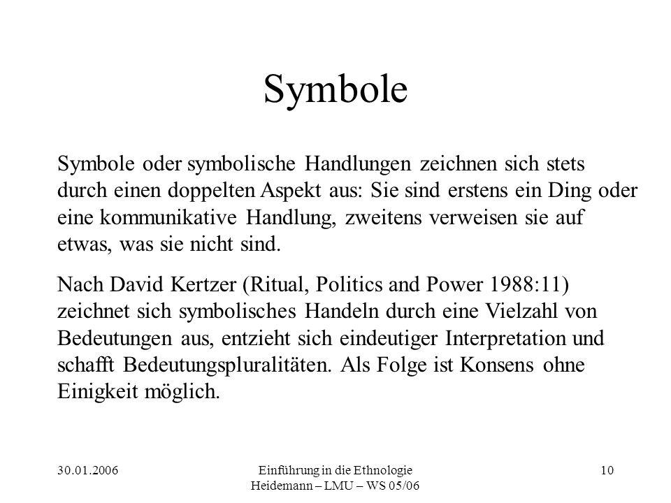 30.01.2006Einführung in die Ethnologie Heidemann – LMU – WS 05/06 10 Symbole Symbole oder symbolische Handlungen zeichnen sich stets durch einen doppelten Aspekt aus: Sie sind erstens ein Ding oder eine kommunikative Handlung, zweitens verweisen sie auf etwas, was sie nicht sind.