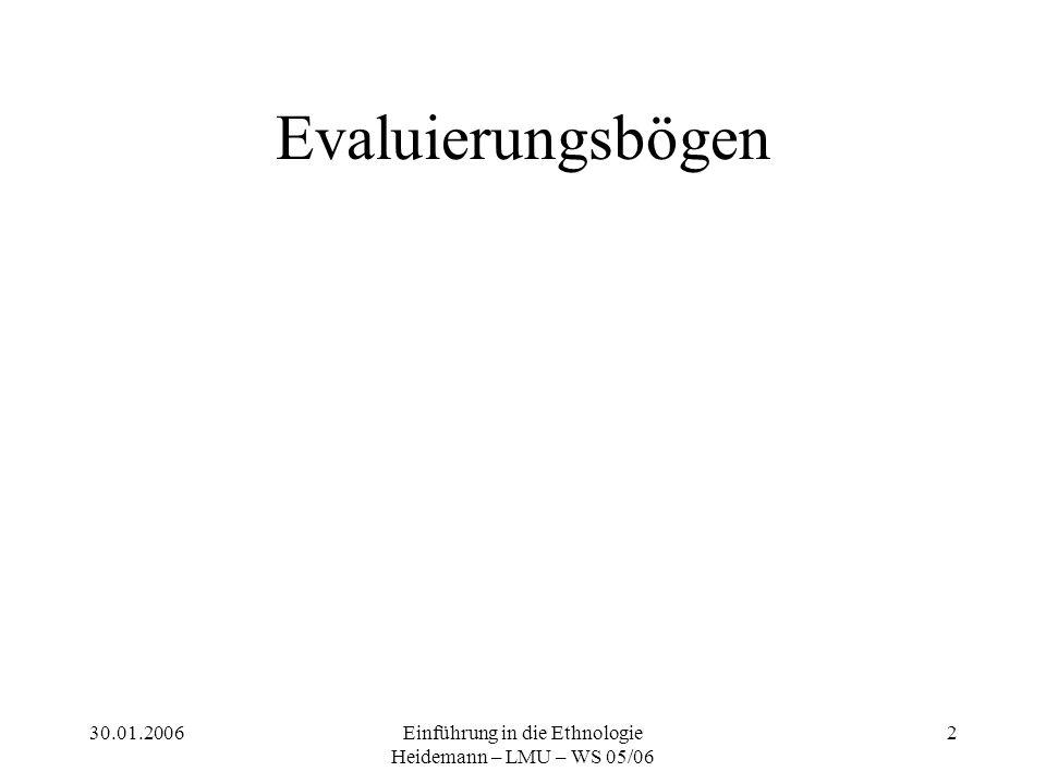 30.01.2006Einführung in die Ethnologie Heidemann – LMU – WS 05/06 2 Evaluierungsbögen