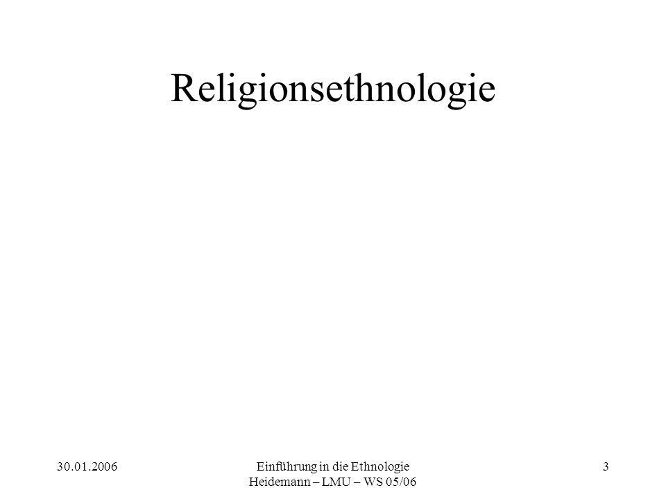 30.01.2006Einführung in die Ethnologie Heidemann – LMU – WS 05/06 3 Religionsethnologie