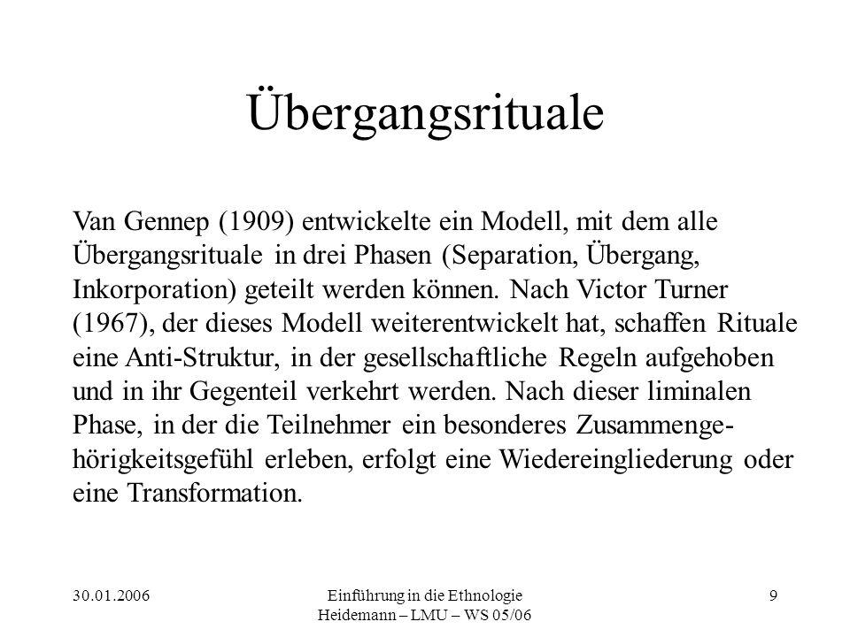 30.01.2006Einführung in die Ethnologie Heidemann – LMU – WS 05/06 9 Übergangsrituale Van Gennep (1909) entwickelte ein Modell, mit dem alle Übergangsrituale in drei Phasen (Separation, Übergang, Inkorporation) geteilt werden können.