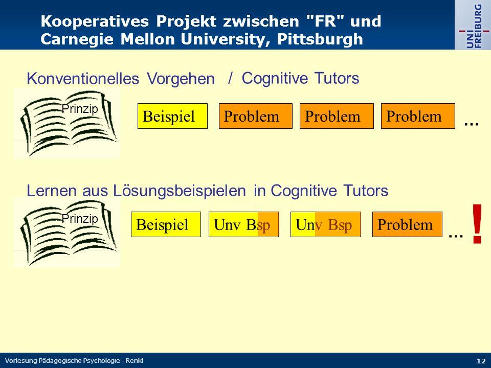 Vorlesung Pädagogische Psychologie - Renkl 12 Beispiel Problem Prinzip … Problem Konventionelles Vorgehen … Lernen aus Lösungsbeispielen in Cognitive