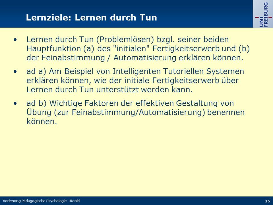 Vorlesung Pädagogische Psychologie - Renkl 15 Lernziele: Lernen durch Tun Lernen durch Tun (Problemlösen) bzgl. seiner beiden Hauptfunktion (a) des