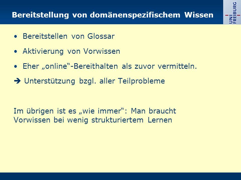 """Bereitstellung von domänenspezifischem Wissen Bereitstellen von Glossar Aktivierung von Vorwissen Eher """"online""""-Bereithalten als zuvor vermitteln.  U"""