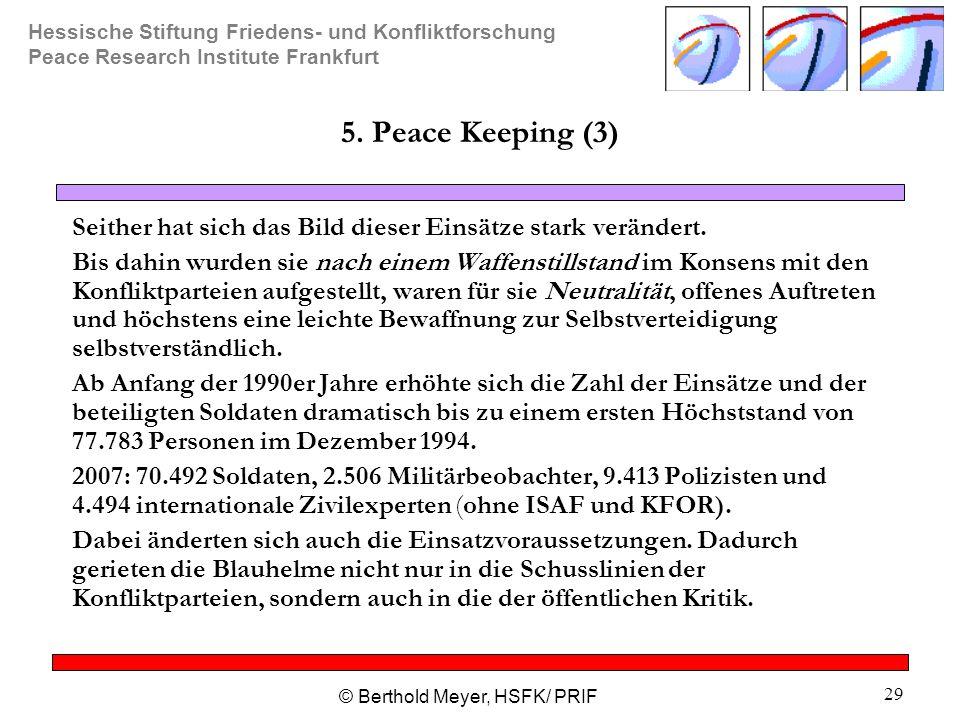 Hessische Stiftung Friedens- und Konfliktforschung Peace Research Institute Frankfurt © Berthold Meyer, HSFK/ PRIF 29 5.