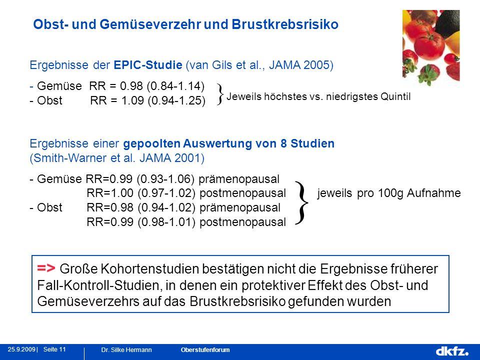 Seite 1125.9.2009 | Dr. Silke Hermann Oberstufenforum Obst- und Gemüseverzehr und Brustkrebsrisiko Ergebnisse der EPIC-Studie (van Gils et al., JAMA 2