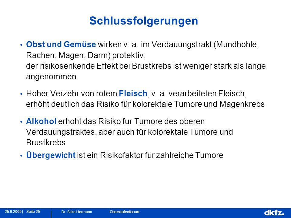 Seite 2525.9.2009 | Dr. Silke Hermann Oberstufenforum Schlussfolgerungen Obst und Gemüse wirken v. a. im Verdauungstrakt (Mundhöhle, Rachen, Magen, Da