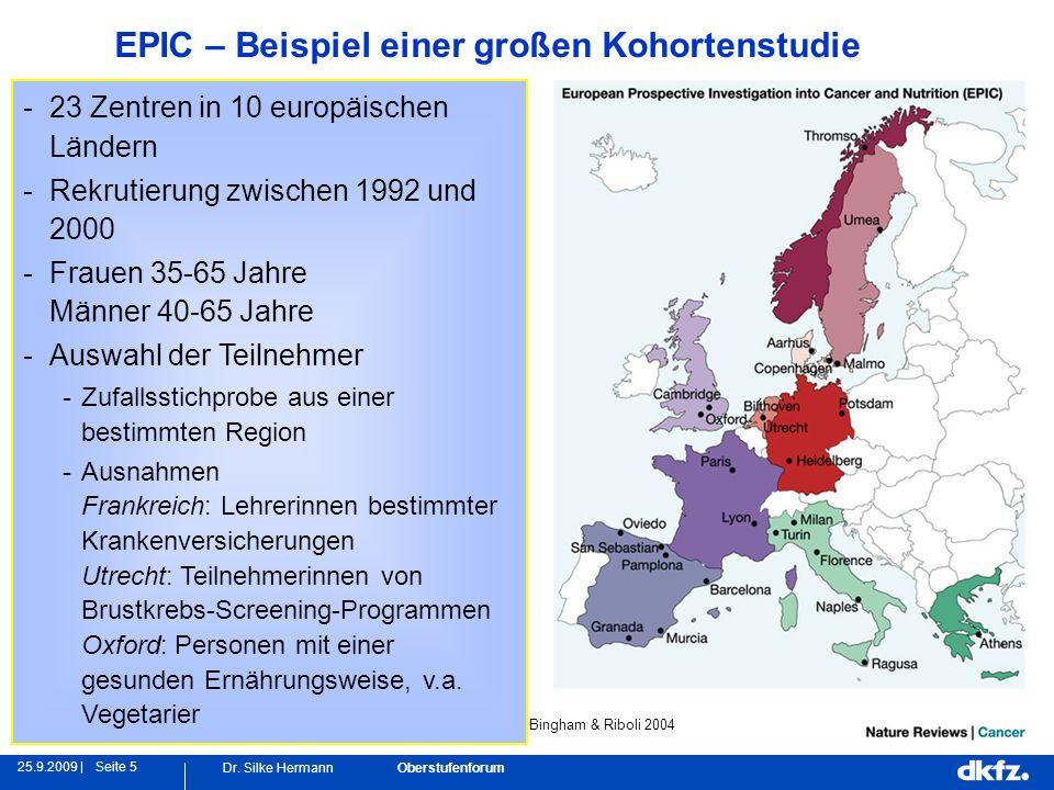 Seite 525.9.2009 | Dr. Silke Hermann Oberstufenforum -23 Zentren in 10 europäischen Ländern -Rekrutierung zwischen 1992 und 2000 -Frauen 35-65 Jahre M