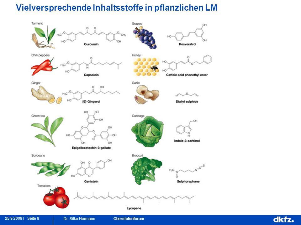 Seite 825.9.2009 | Dr. Silke Hermann Oberstufenforum Vielversprechende Inhaltsstoffe in pflanzlichen LM
