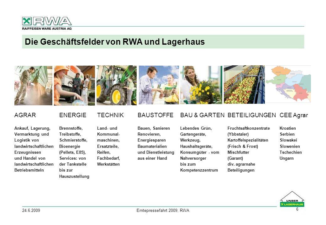 24.6.2009Erntepressefahrt 2009, RWA 6 Die Geschäftsfelder von RWA und Lagerhaus AGRAR Ankauf, Lagerung, Vermarktung und Logistik von landwirtschaftlichen Erzeugnissen und Handel von landwirtschaftlichen Betriebsmitteln ENERGIE Brennstoffe, Treibstoffe, Schmierstoffe, Bioenergie (Pellets, E85), Services: von der Tankstelle bis zur Hauszustellung TECHNIK Land- und Kommunal- maschinen, Ersatzteile, Reifen, Fachbedarf, Werkstätten BAUSTOFFE Bauen, Sanieren Renovieren, Energiesparen Baumaterialien und Dienstleistung aus einer Hand BAU & GARTEN Lebendes Grün, Gartengeräte, Werkzeug, Haushaltsgeräte, Konsumgüter - vom Nahversorger bis zum Kompetenzzentrum BETEILIGUNGEN Fruchtsaftkonzentrate (Ybbstaler) Kartoffelspezialitäten (Frisch & Frost) Mischfutter (Garant) div.
