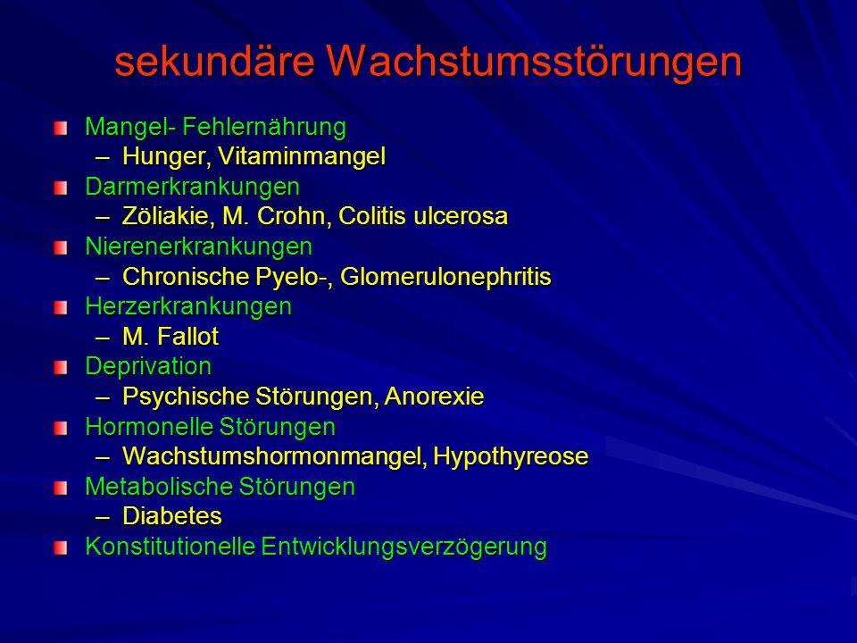 sekundäre Wachstumsstörungen Mangel- Fehlernährung –Hunger, Vitaminmangel Darmerkrankungen –Zöliakie, M. Crohn, Colitis ulcerosa Nierenerkrankungen –C