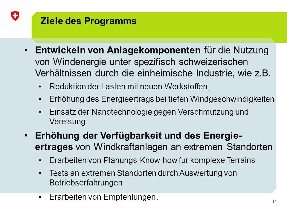 17 Ziele des Programms Entwickeln von Anlagekomponenten für die Nutzung von Windenergie unter spezifisch schweizerischen Verhältnissen durch die einheimische Industrie, wie z.B.