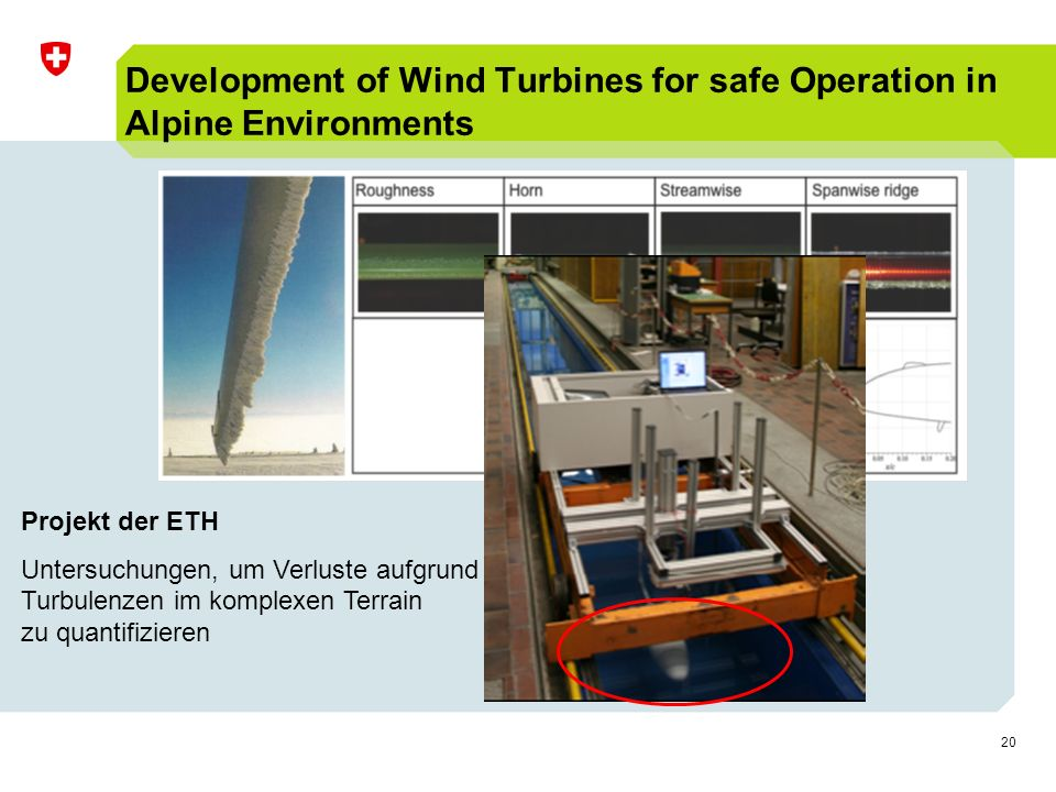 20 Development of Wind Turbines for safe Operation in Alpine Environments Projekt der ETH Untersuchungen, um Verluste aufgrund Turbulenzen im komplexen Terrain zu quantifizieren