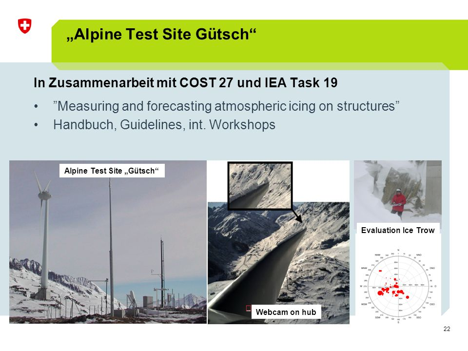 "22 ""Alpine Test Site Gütsch In Zusammenarbeit mit COST 27 und IEA Task 19 Measuring and forecasting atmospheric icing on structures Handbuch, Guidelines, int."