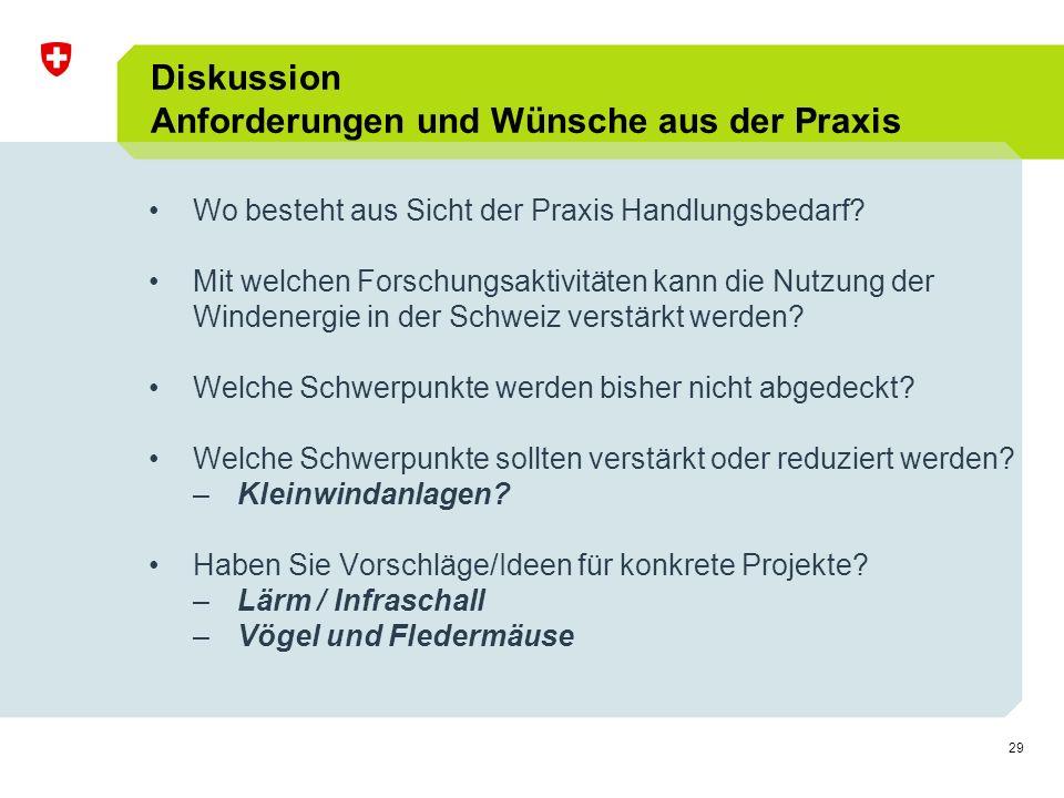 29 Diskussion Anforderungen und Wünsche aus der Praxis Wo besteht aus Sicht der Praxis Handlungsbedarf.