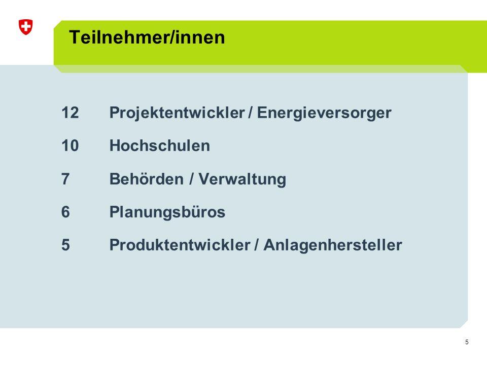 5 Teilnehmer/innen 12 Projektentwickler / Energieversorger 10Hochschulen 7Behörden / Verwaltung 6 Planungsbüros 5 Produktentwickler / Anlagenhersteller