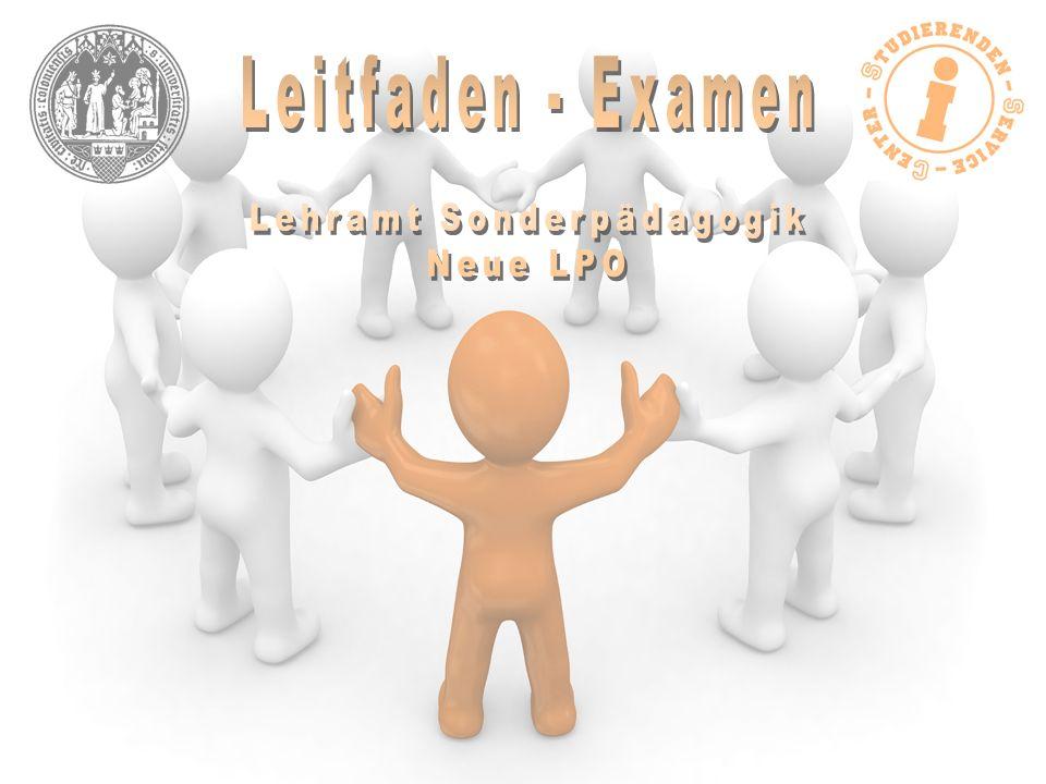 Übersicht der Prüfungen Examensarbeit die Examensarbeit kann in jedem Bereich Ihres Studiums (Sonderpädagogik, 1.