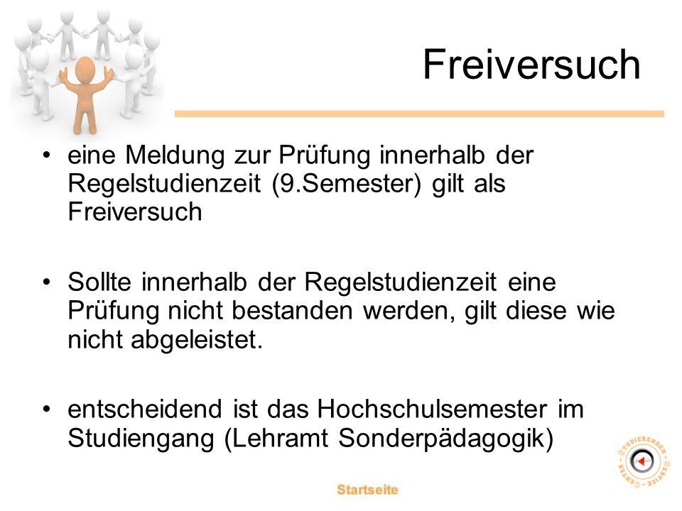 Freiversuch eine Meldung zur Prüfung innerhalb der Regelstudienzeit (9.Semester) gilt als Freiversuch Sollte innerhalb der Regelstudienzeit eine Prüfung nicht bestanden werden, gilt diese wie nicht abgeleistet.