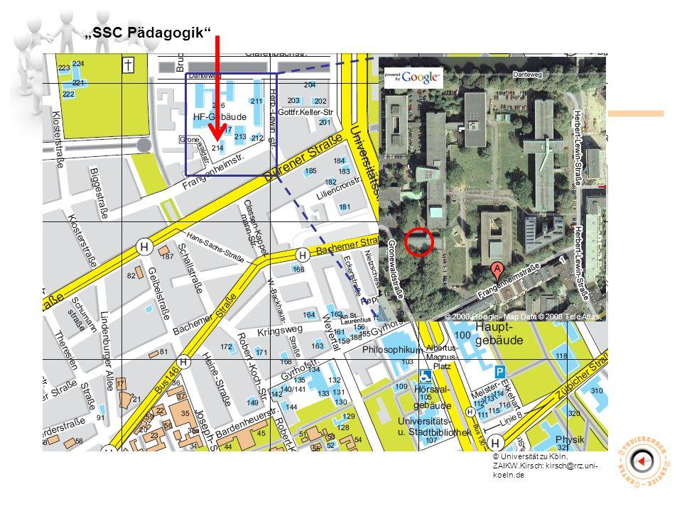 """""""SSC Pädagogik © Universität zu Köln, ZAIKW.Kirsch: kirsch@rrz.uni- koeln.de © 2008 Google - Map Data © 2008 Tele Atlas."""