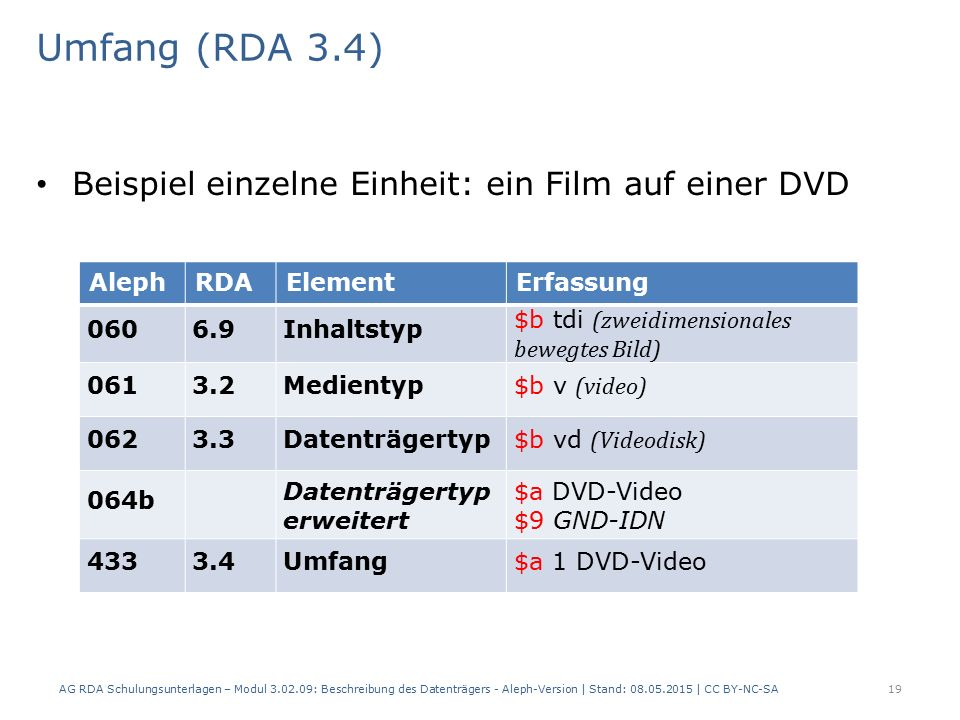 Umfang (RDA 3.4) Beispiel einzelne Einheit: ein Film auf einer DVD AlephRDAElementErfassung 0606.9Inhaltstyp $b tdi (zweidimensionales bewegtes Bild) 0613.2Medientyp $b v (video) 0623.3Datenträgertyp $b vd (Videodisk) 064b Datenträgertyp erweitert $a DVD-Video $9 GND-IDN 4333.4Umfang$a 1 DVD-Video AG RDA Schulungsunterlagen – Modul 3.02.09: Beschreibung des Datenträgers - Aleph-Version | Stand: 08.05.2015 | CC BY-NC-SA19