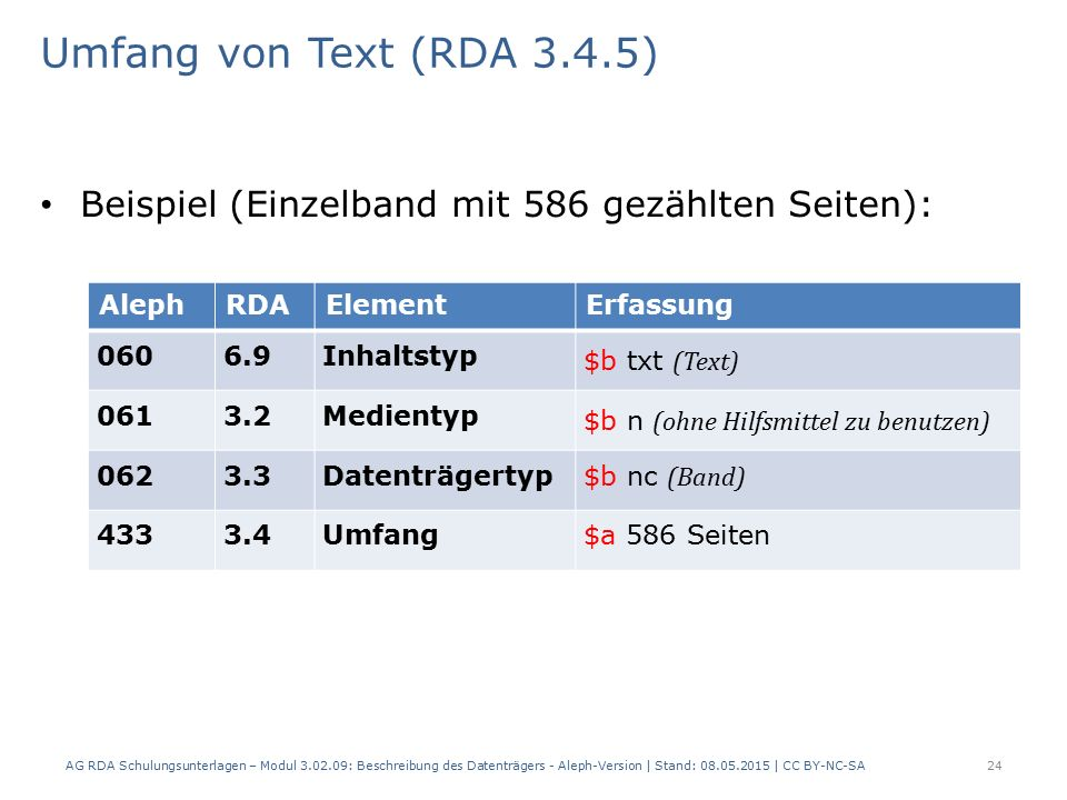Umfang von Text (RDA 3.4.5) Beispiel (Einzelband mit 586 gezählten Seiten): AlephRDAElementErfassung 0606.9Inhaltstyp $b txt (Text) 0613.2Medientyp $b n (ohne Hilfsmittel zu benutzen) 0623.3Datenträgertyp $b nc (Band) 4333.4Umfang$a 586 Seiten AG RDA Schulungsunterlagen – Modul 3.02.09: Beschreibung des Datenträgers - Aleph-Version | Stand: 08.05.2015 | CC BY-NC-SA24