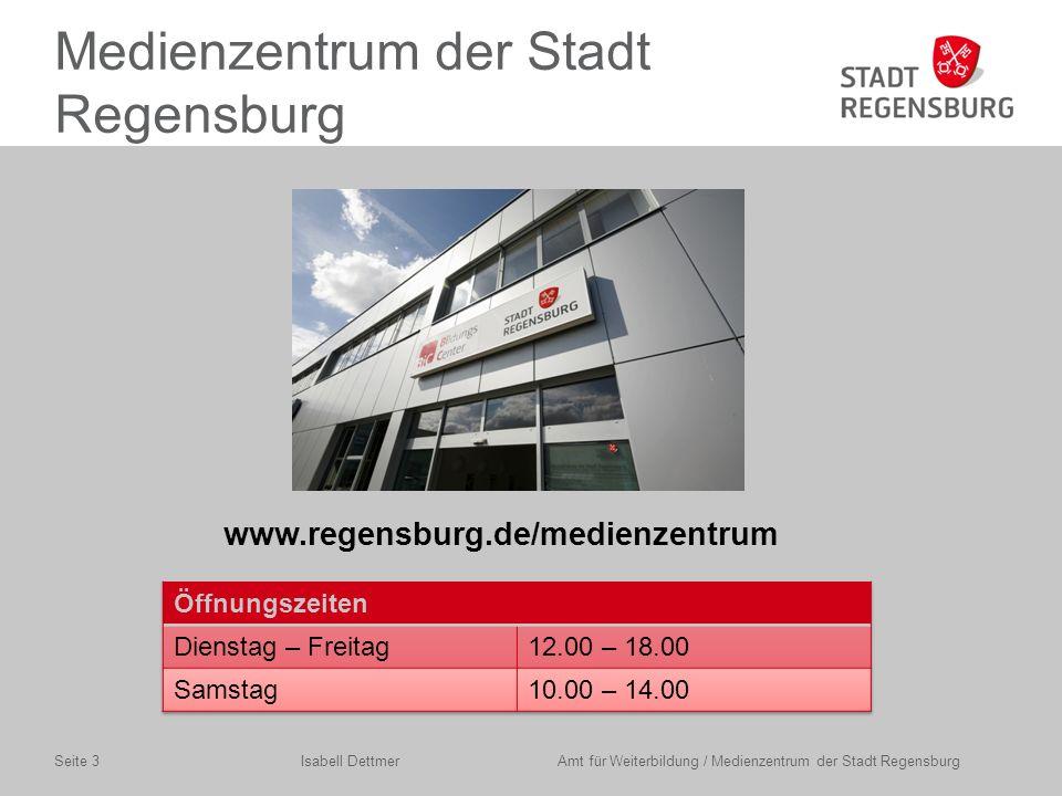 Beipsiel 1: Schulfernsehen Isabell Dettmer Amt für Weiterbildung / Medienzentrum der Stadt RegensburgSeite 14