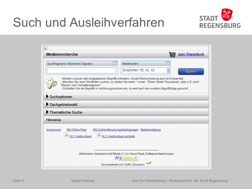 Isabell Dettmer Amt für Weiterbildung / Medienzentrum der Stadt RegensburgSeite 20
