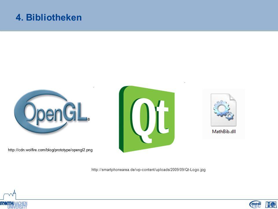4. Bibliotheken http://cdn.wolfire.com/blog/prototype/opengl2.png http://smartphonearea.de/wp-content/uploads/2009/09/Qt-Logo.jpg http://cdn.wolfire.c