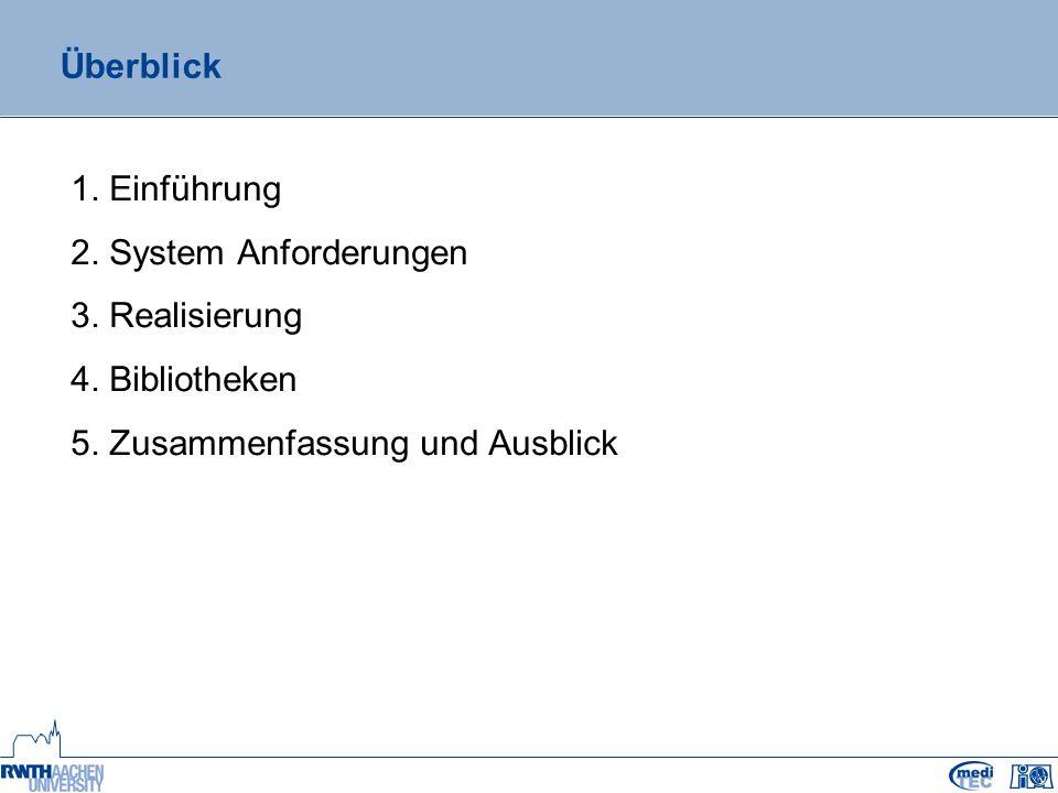 Überblick 1. Einführung 2. System Anforderungen 3.