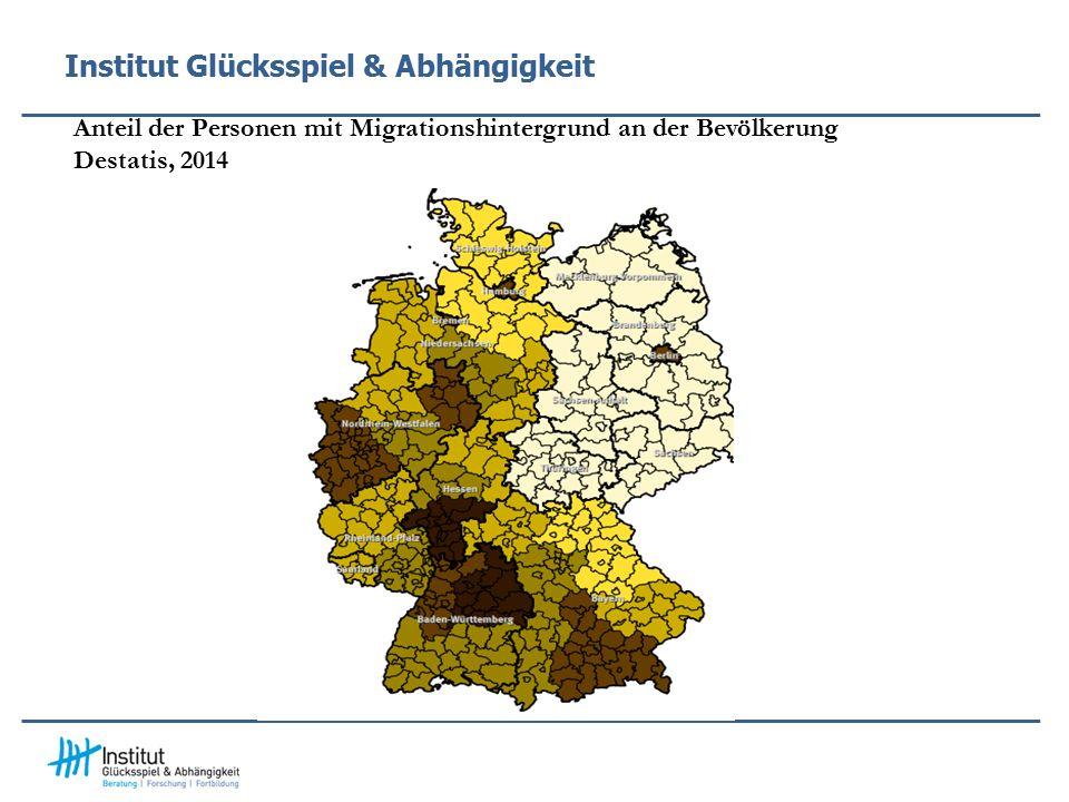 Institut Glücksspiel & Abhängigkeit Anteil der Personen mit Migrationshintergrund an der Bevölkerung Destatis, 2014