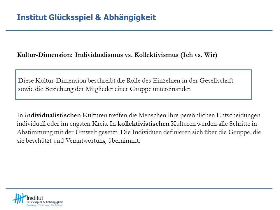 Institut Glücksspiel & Abhängigkeit Kultur-Dimension: Individualismus vs.