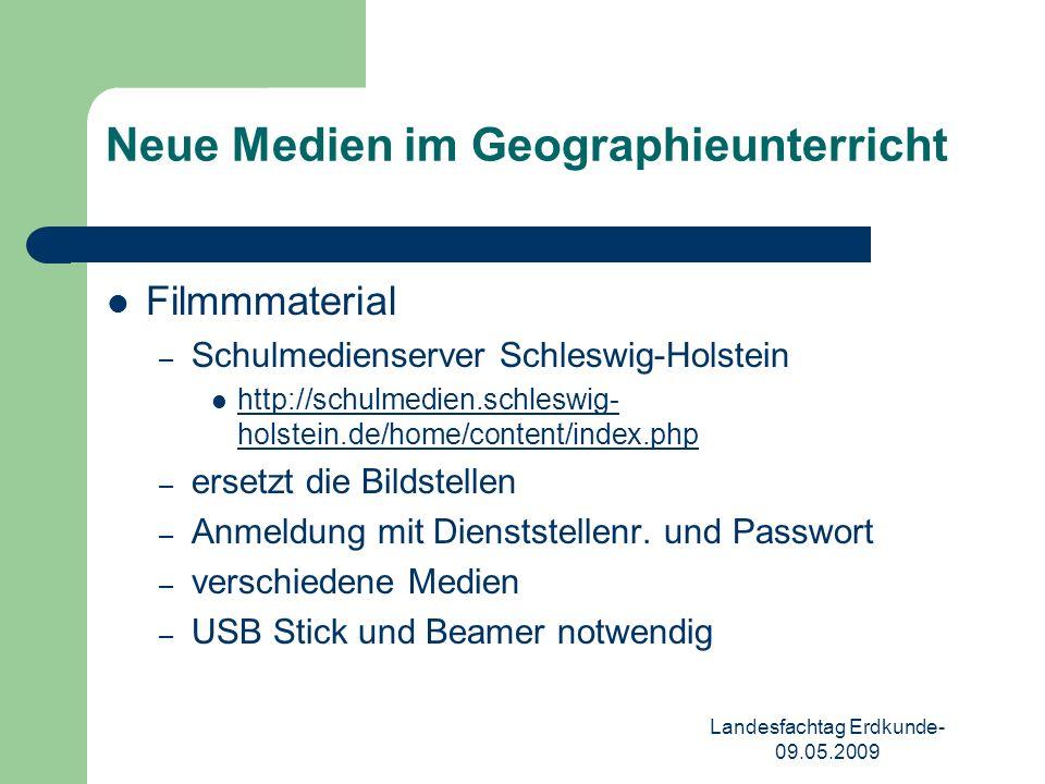 Landesfachtag Erdkunde- 09.05.2009 Neue Medien im Geographieunterricht Podcasts – im Vergleich zu Videos weniger systematisiert – nicht didaktisiert – häufig nur ausschnittsweise zu präsentieren – Quellen unter anderem: http://geografree.de/geografree/Home.html http://www.ndr-info.de/nachrichten/podcast/index.html – Beispiel: Echo der Welt 19.04.2009 Beispiel: Echo der Welt 19.04.2009 – USB Stick, MP3 Player/PC notwendig