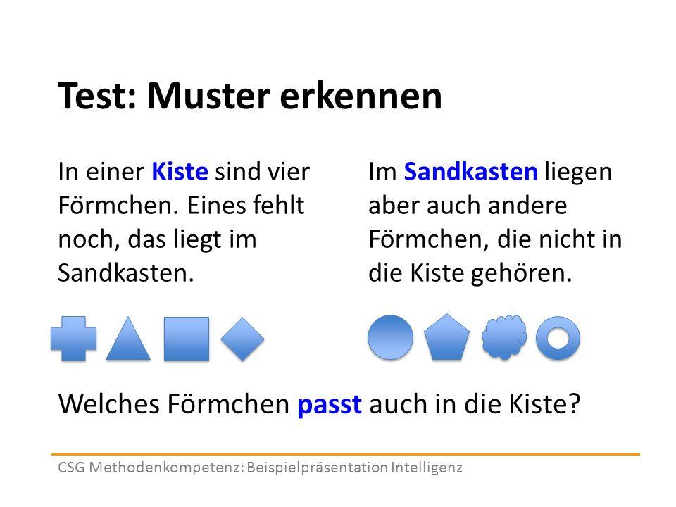 Test: Muster erkennen In einer Kiste sind vier Förmchen.