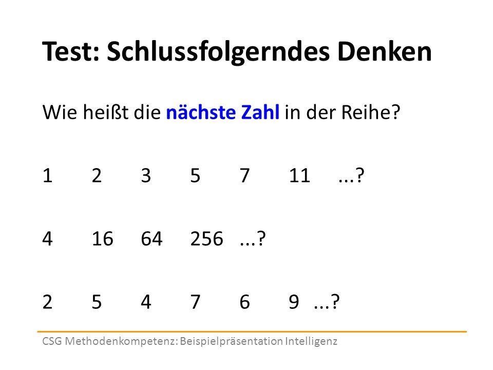 Test: Schlussfolgerndes Denken Wie heißt die nächste Zahl in der Reihe.
