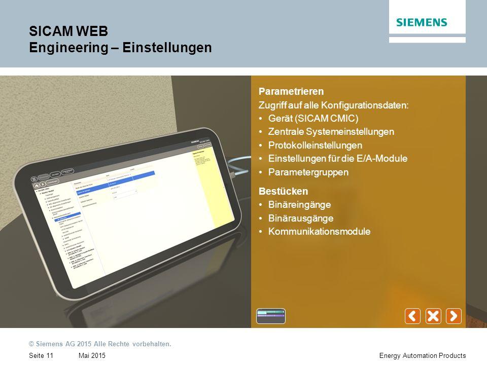 Mai 2015 © Siemens AG 2015 Alle Rechte vorbehalten.
