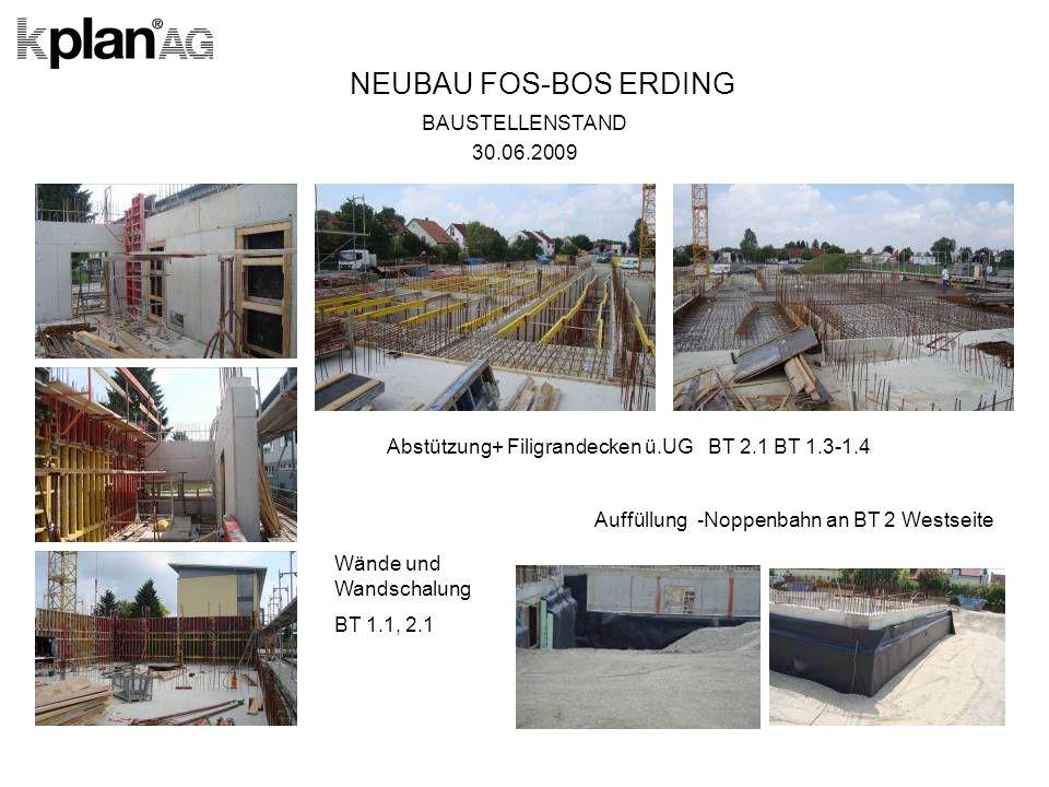 NEUBAU FOS-BOS ERDING BAUSTELLENSTAND 30.06.2009 Abstützung+ Filigrandecken ü.UG BT 2.1 BT 1.3-1.4 Auffüllung -Noppenbahn an BT 2 Westseite Wände und Wandschalung BT 1.1, 2.1