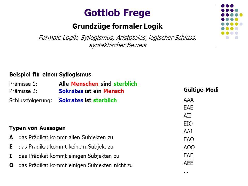 Gottlob Frege Grundzüge formaler Logik Formales symbolisches System, elementare Algebra, Wahrheitstabellen Elementare Algebra gültige/ungültige Ausdrücke 23+11 a+b 23++11 Umformungen 23+11 34 a + b = c + b a + b - b = c + b - b a = c Wahrheitstabellen AB A ∧ B AND und A ∨ B OR oder  (A  B) XOR oder A  B wenn dann NOR Peirce Op.