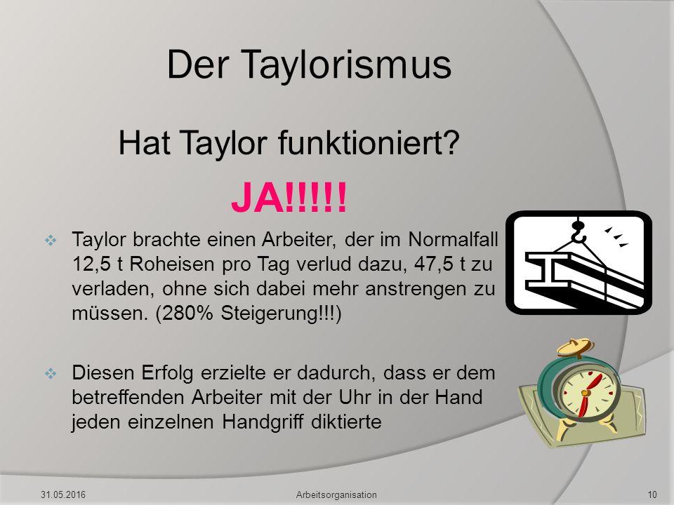 Der Taylorismus Hat Taylor funktioniert? JA!!!!!  Taylor brachte einen Arbeiter, der im Normalfall 12,5 t Roheisen pro Tag verlud dazu, 47,5 t zu ver