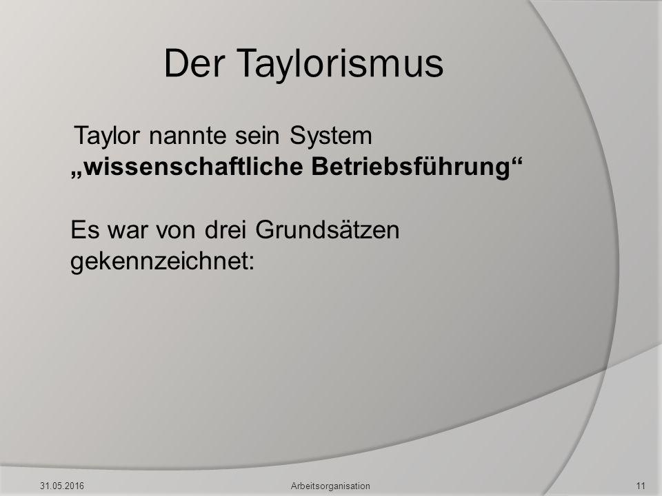 """Der Taylorismus Taylor nannte sein System """"wissenschaftliche Betriebsführung"""" Es war von drei Grundsätzen gekennzeichnet: 31.05.201611Arbeitsorganisat"""