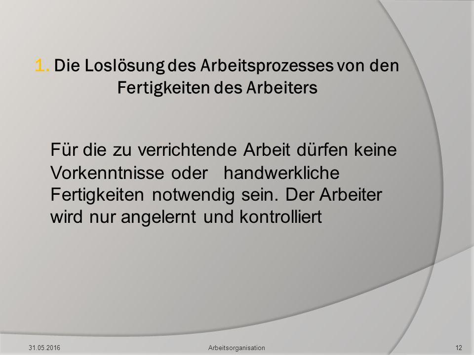 1. Die Loslösung des Arbeitsprozesses von den Fertigkeiten des Arbeiters Für die zu verrichtende Arbeit dürfen keine Vorkenntnisse oder handwerkliche