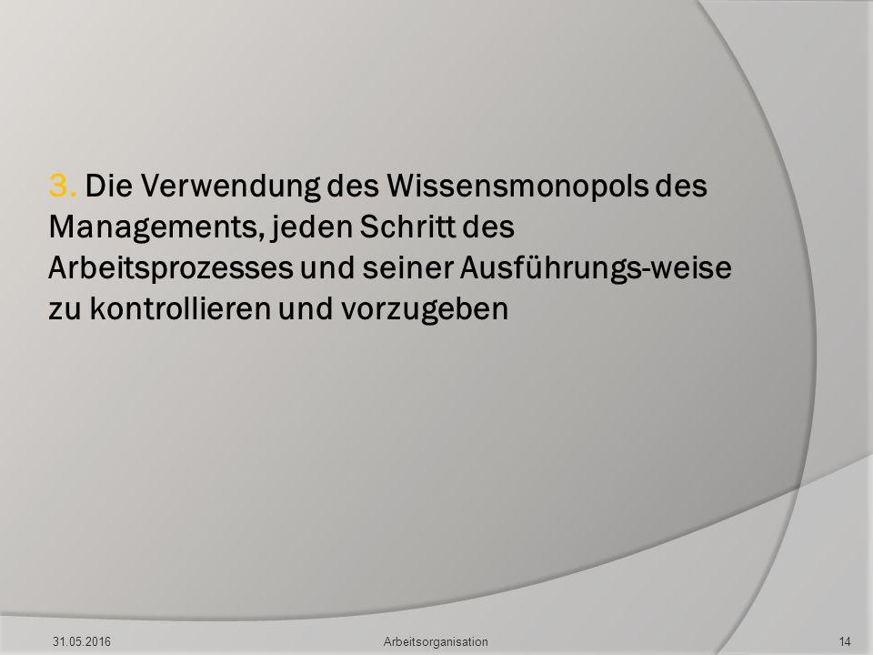 3. Die Verwendung des Wissensmonopols des Managements, jeden Schritt des Arbeitsprozesses und seiner Ausführungs-weise zu kontrollieren und vorzugeben