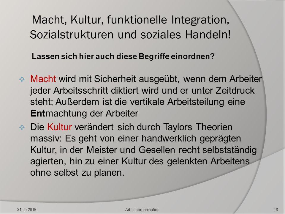 Macht, Kultur, funktionelle Integration, Sozialstrukturen und soziales Handeln! Lassen sich hier auch diese Begriffe einordnen?  Macht wird mit Siche