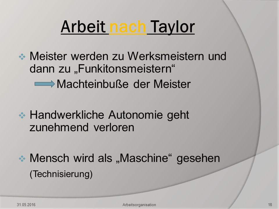 """Arbeit nach Taylor  Meister werden zu Werksmeistern und dann zu """"Funkitonsmeistern"""" Machteinbuße der Meister  Handwerkliche Autonomie geht zunehmend"""