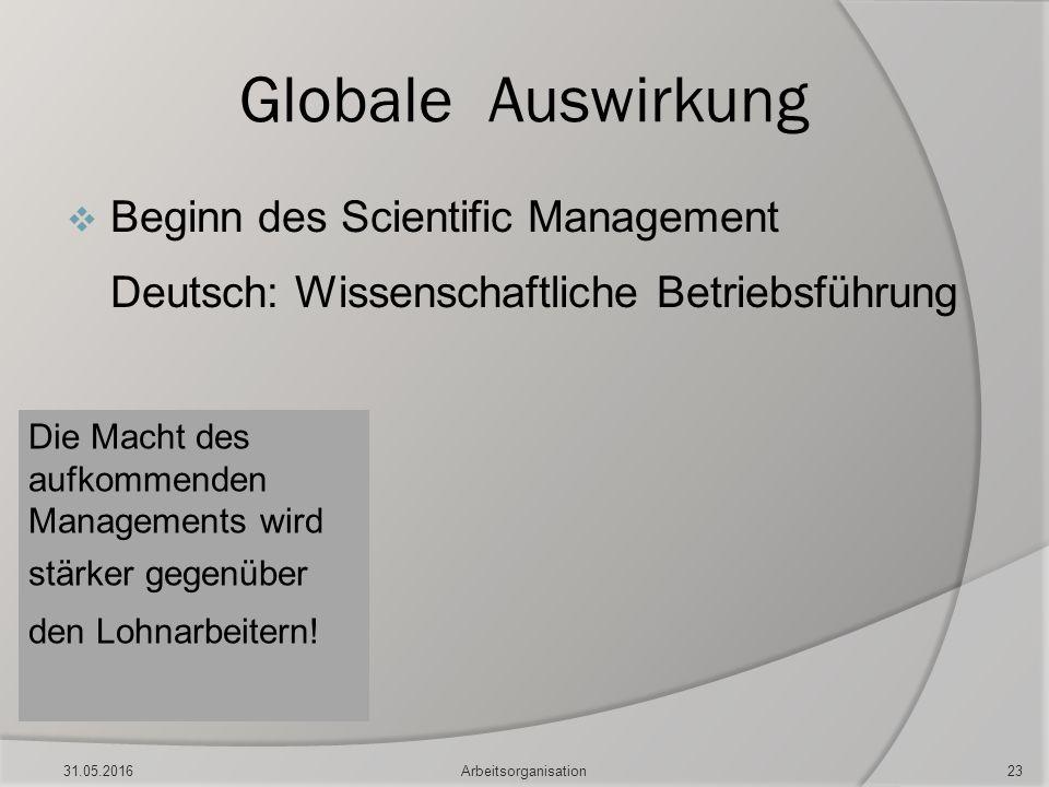 Globale Auswirkung  Beginn des Scientific Management Deutsch: Wissenschaftliche Betriebsführung Die Macht des aufkommenden Managements wird stärker g