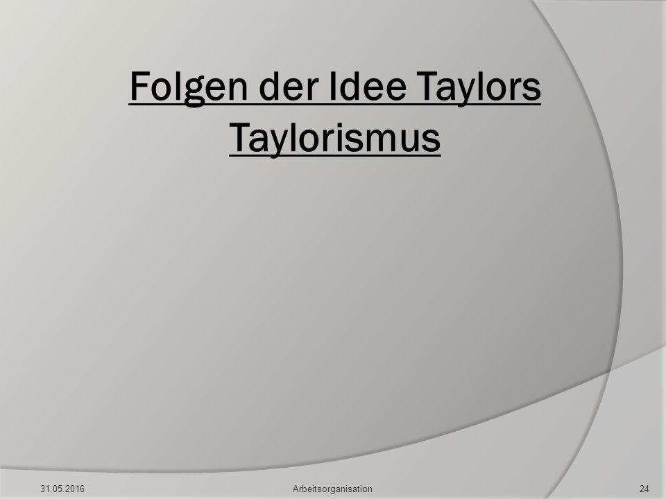 Folgen der Idee Taylors Taylorismus 31.05.201624Arbeitsorganisation