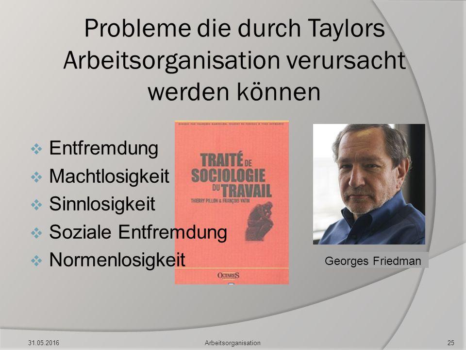 Probleme die durch Taylors Arbeitsorganisation verursacht werden können  Entfremdung  Machtlosigkeit  Sinnlosigkeit  Soziale Entfremdung  Normenl